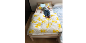 スニーグラに寝る息子