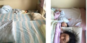 ベットで寝る親子